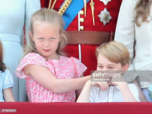 Savannah Phillips and Prince George of Cambridge watch the flypast on the balcony of Buckingham Palace during Trooping The Colour on June 9 2018 in...