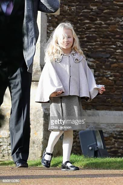 Savannah Phillips attends a Christmas Day church service at Sandringham on December 25 2016 in King's Lynn England