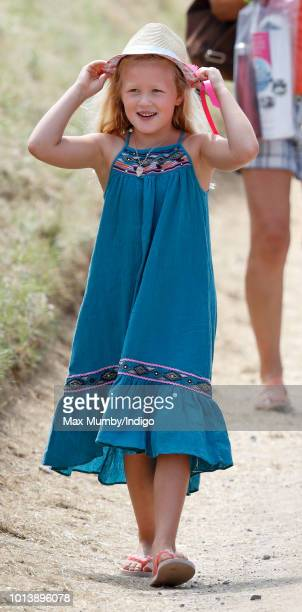Savannah Phillips attends day 3 of The Festival of British Eventing at Gatcombe Park on August 5, 2018 in Stroud, England.