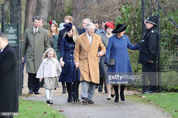 Savannah Phillips Autumn Phillips Prince Harry Prince Charles Prince of Wales Princess Eugenie and Camilla Duchess of Cornwall attend a Christmas Day...