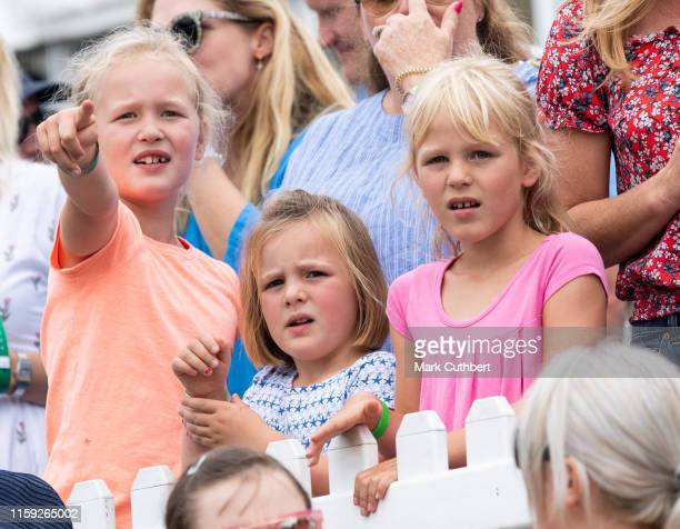 Savannah Phillips Isla Phillips and Mia Tindall watch the Pony Racing during the 2019 Festival of British Eventing at Gatcombe Park on August 3 2019...