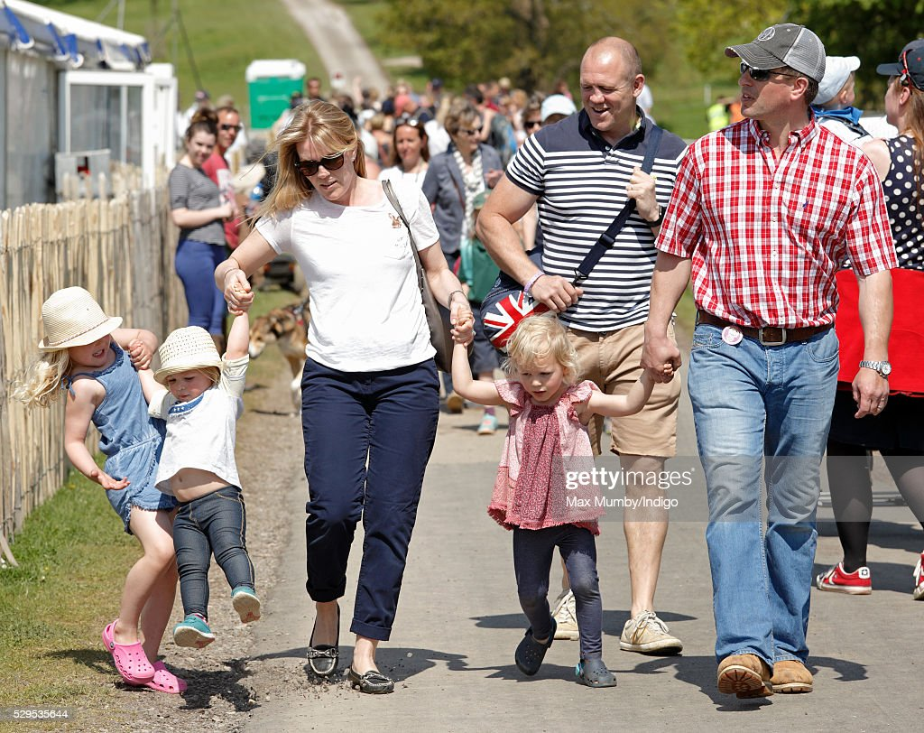 Savannah Phillips, Mia Tindall, Autumn Phillips, Isla Phillips, Mike Tindall and Peter Phillips attend the Badminton Horse Trials on May 8, 2016 in Badminton, England.