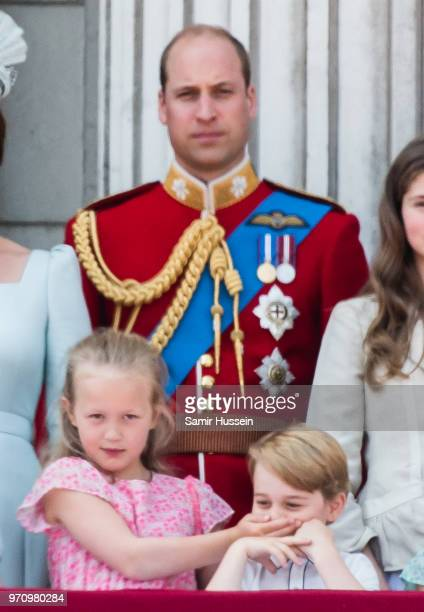 Savannah Phillips, Prince William, Duke of Cambridge and Prince George of Cambridge on the balcony of Buckingham Palace during Trooping The Colour...