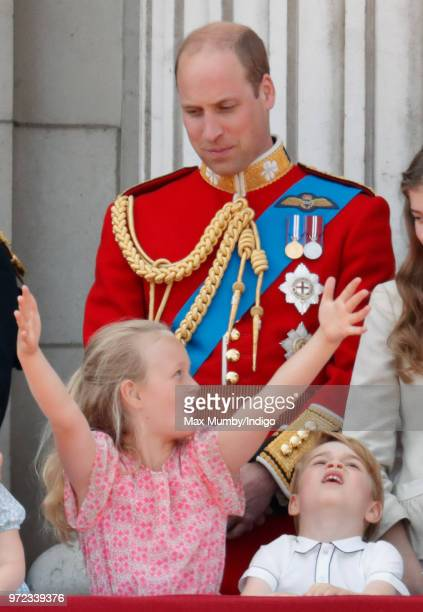 Savannah Phillips Prince William Duke of Cambridge and Prince George of Cambridge stand on the balcony of Buckingham Palace during Trooping The...