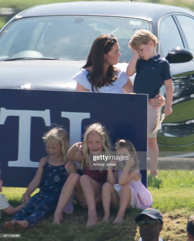 Savannah Phillips, Princess Charlotte of Cambridge, Catherine Duchess of Cambridge and Prince George of Cambridge attend the Maserati Royal Charity Polo Trophy at Beaufort Park on June 10, 2018 in Gloucester, England.