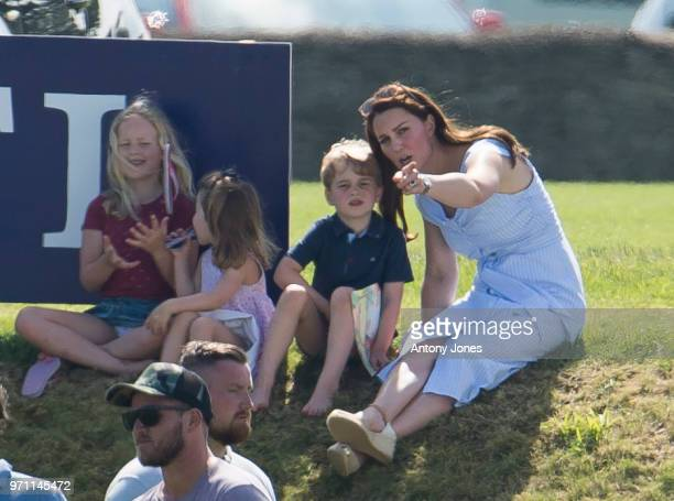 Savannah Phillips Princess Charlotte of Cambridge Prince George of Cambridge and Catherine Duchess of Cambridge during the Maserati Royal Charity...