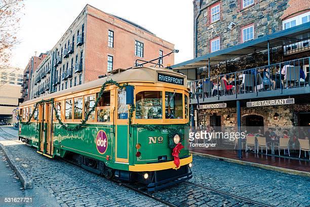 Savannah Riverfront with Streetcar