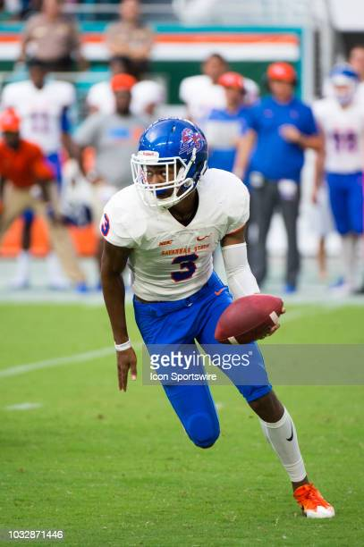 Savannah State Tigers Quarterback D'Vonn Gibbons runs with the ball during the college football game between the Savannah State Tigers and the...