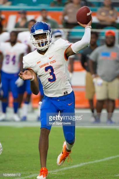 Savannah State Tigers Quarterback D'Vonn Gibbons throws the ball during the college football game between the Savannah State Tigers and the...