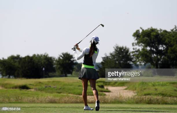Savannah Vilaubi plays her shot from the 3rd tee during the first round of the Energy Producers Inc Texas Women's Open on June 02 2020 in The Colony...