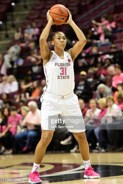 Savannah Wilkinson guard Florida State University Seminoles prepares to pass the basketball during an Atlantic Coast Conference match-up with the...