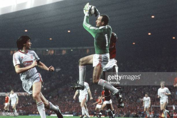Save by Liverpool's goalkeeper, Bruce Grobbelaar. Manchester United 1-1 Liverpool, League match at Old Trafford, Sunday 15th November 1987.