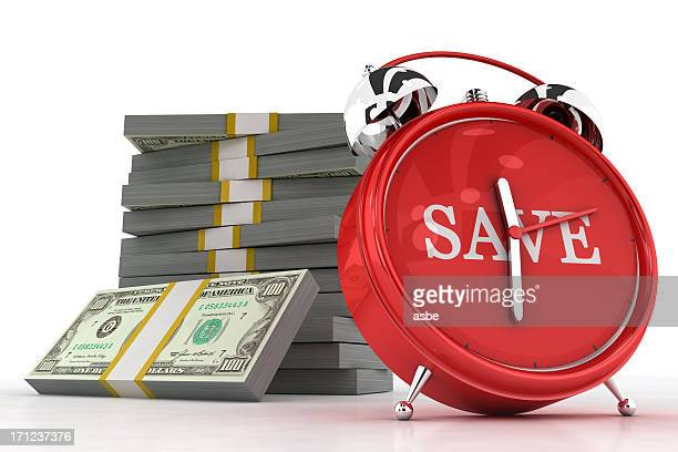 save clock with money - countdown clock stock photos and pictures
