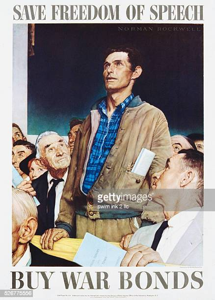 Save Freedom of Speech, Buy War Bonds Poster by Norman Rockwell