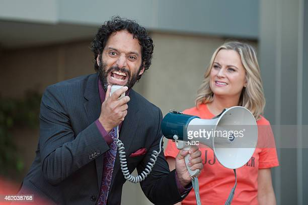 RECREATION Save JJ's Episode 707 Pictured Jason Mantzoukas as Dennis Feinstein Amy Poehler as Ron Swanson