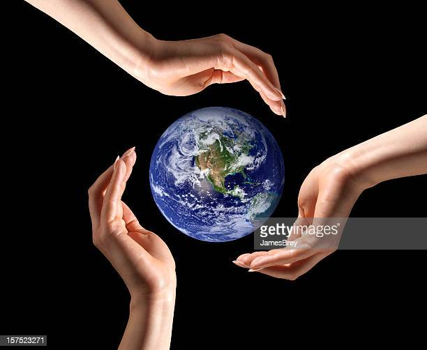 save planet earth, recycle; three hands around ecology globe - earth day stock pictures, royalty-free photos & images