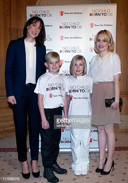Save the Children Ambassador Samantha Cameron charity child fundraisers Josh and Gabrielle Black aged 9 and 10 from Ayreshire and British singer...