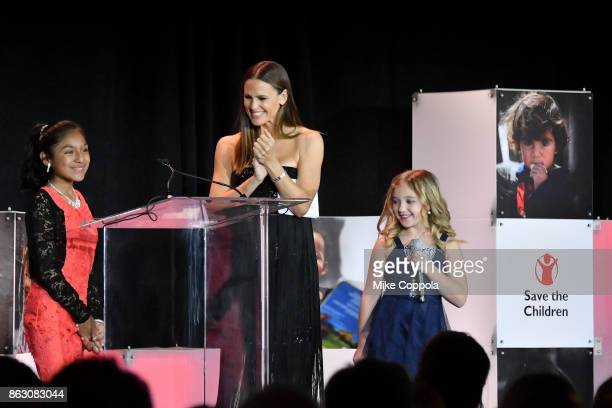 Save the Children beneficiary Nicole and actress and Save the Children Trustee Jennifer Garner and Save the Children beneficiary Anna Marie speak...