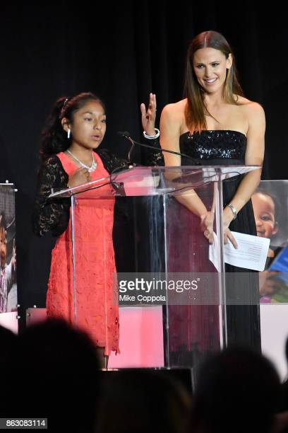 Save the Children beneficiary Nicole and actress and Save the Children Trustee Jennifer Garner speak onstage at the 5th Annual Save the Children...
