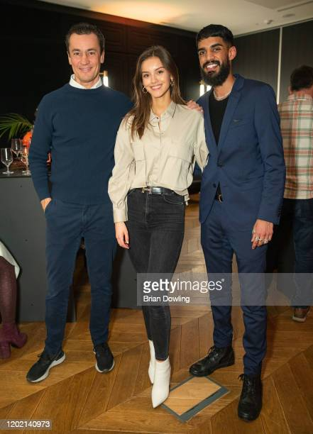 Save the Duck CEO Nicolas Bargi Nicola Rade and Usman Latif attend the Save the Duck Kitchen Party Kickoff Ispo at Roomers Munich on January 26 2020...