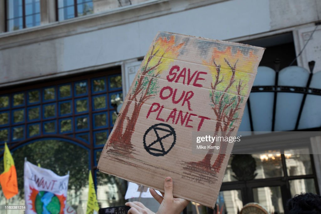 Protest Against Amazon Rainforest Fires By Extinction Rebellion : News Photo