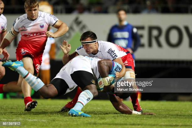 Savenaca Rawaca of Bayonne and Loic Baradel of Grenoble during the French Pro D2 match between Aviron Bayonnais and Grenoble on September 21 2017 in...