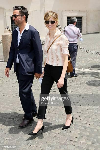 Saverio Costanzo and Alba Rohrwacher attend the '2015 David Di Donatello' Nominees at Palazzo del Quirinale on June 12 2015 in Rome Italy