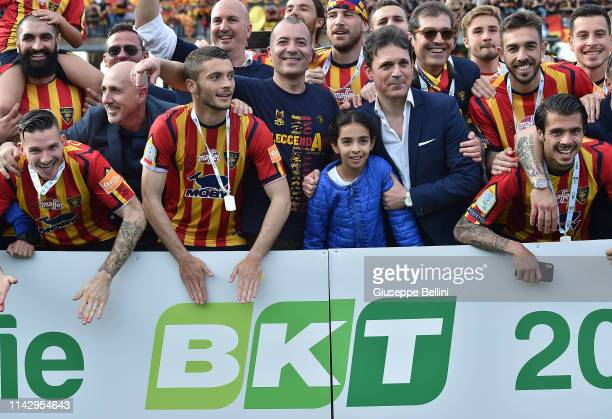 Saverio Sticchi Damiani President of US Lecce celebrates the second place in the Serie B championship and promotion in the Serie A championship after...