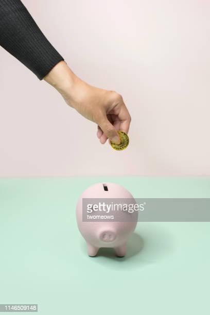 Saving coin into piggy bank still life.