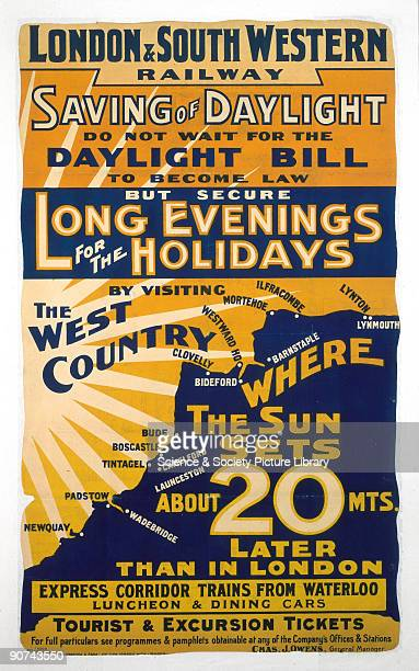 �Saving of Daylight Do not Wait for the Daylight Bill to Become Law but Secure Long Evenings for the Holidays by Visiting the West Country� Poster...
