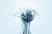 Saving water and world environmental protection concept.