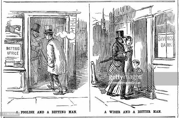 Savings Bank 'A Foolish and a Betting Man' and 'A Wise and a Better Man' cartoon from Punch London 1852 on the folly of profligacy of smoking and...