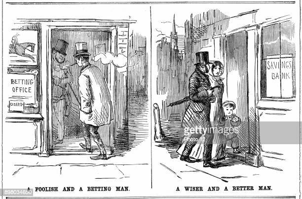 Savings Bank 'A Foolish and a Betting Man' and 'A Wise and a Better Man' cartoon from 'Punch' London 1852 on the folly of profligacy of smoking and...