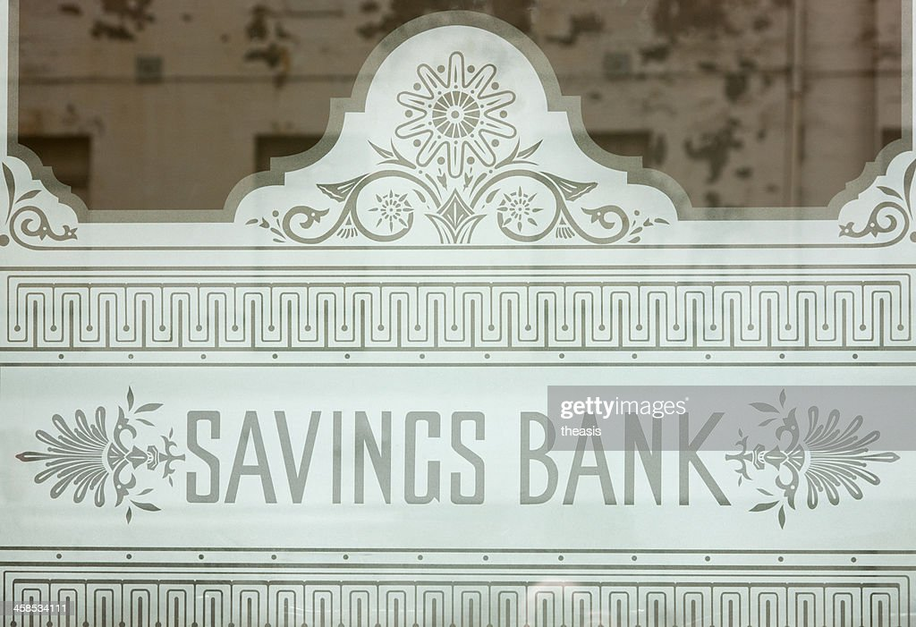 Savings Bank of Glasgow Window : Stock Photo