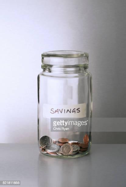 Savings change jar on counter