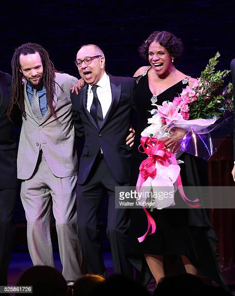 Savion Glover George C Wolfe and Audra McDonald during the Broadway Opening Night Curtain Call for 'Shuffle Along' at The Music Box Theatre on April...