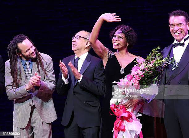 Savion Glover George C Wolfe Audra McDonald and Brian Stokes Mitchell during the Broadway Opening Night Curtain Call for 'Shuffle Along' at The Music...