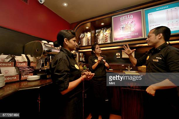 Savita can't speak and hear but still works at Costa Cofee on August 28 2014 in New Delhi India