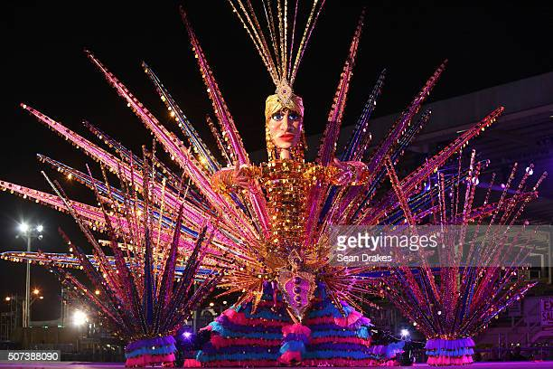Savitri Holassie portrays 'Mystical Goddess of Light Life' during the Queen and King of Carnival preliminary competition in the Queen's Park Savannah...
