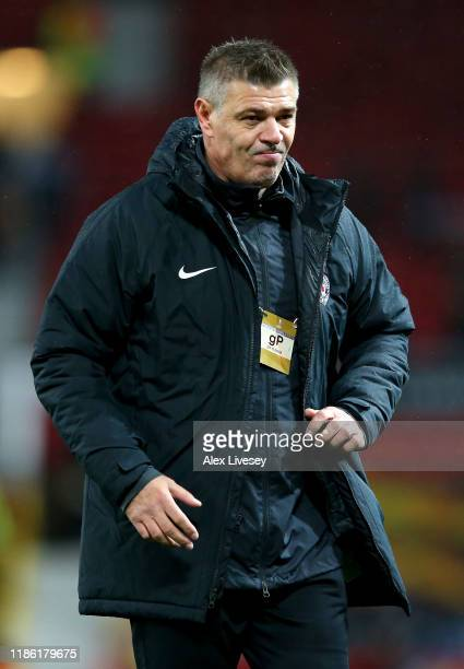 Savo Milosevic, Manager of Partizan Belgrade reacts during the UEFA Europa League group L match between Manchester United and Partizan at Old...