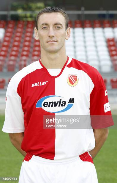 Savo Pavicevic poses during the Bundesliga first Team Presentation of FC Energie Cottbus on July 14 in Cottbus Germany