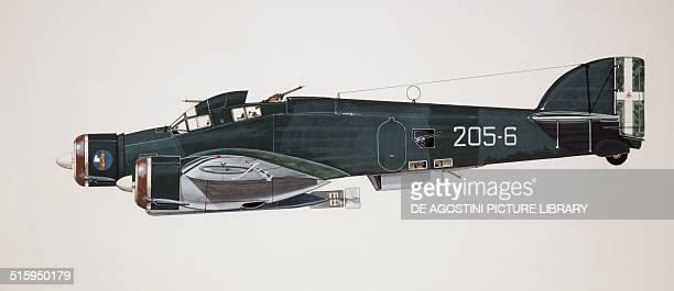 Savoia Marchetti SM79 Sparviero torpedo bomber aircraft Italy drawing