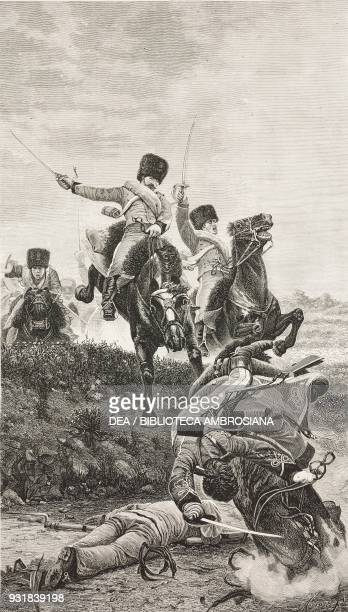 Savoia Savoia Italian light cavalry in action during the wars of independence from a painting by Lemmo RossiScotti engraving by Barberis from...