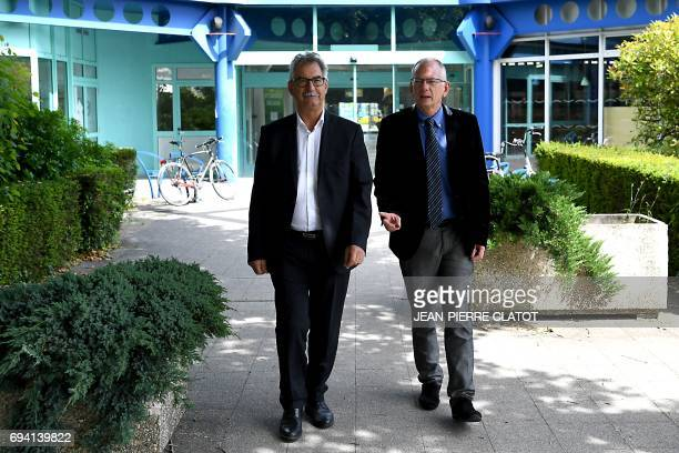 SavoieTechnolac Chairman JeanJacques Duchene and President Luc Berthoud pose on June 9 2017 at the site of SavoieTechnolac in Bourget du Lac during...