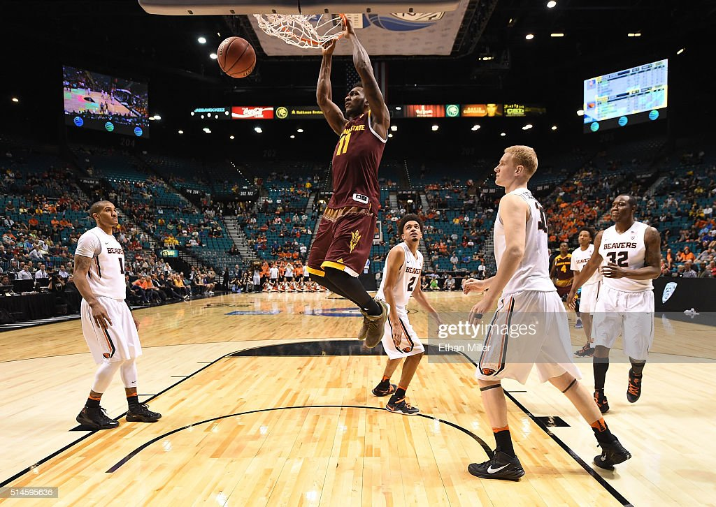Savon Goodman #11 of the Arizona State Sun Devils dunks against the Oregon State Beavers during a first-round game of the Pac-12 Basketball Tournament at MGM Grand Garden Arena on March 9, 2016 in Las Vegas, Nevada. Oregon State won 75-66.