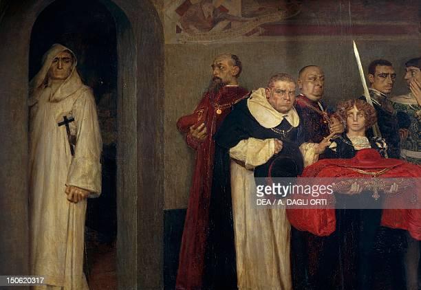 Savonarola refusing the honour offered by Pope Alexander VI by Giulio Bargellini oil on canvas Renaissance Italy 15th century