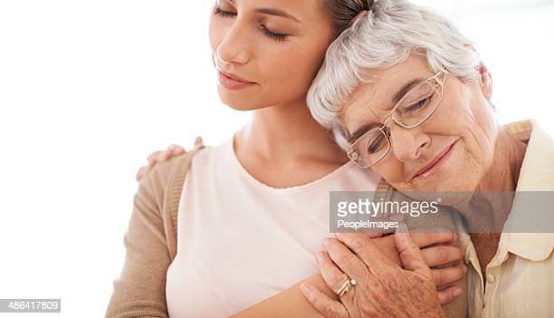Savoring the warmth of her mother's arms