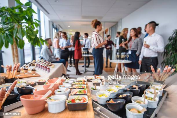 savory and sweet gourmet food at corporate office party - party social event stock pictures, royalty-free photos & images