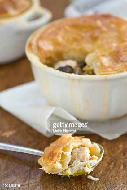 savory chicken pie - savoury food stock photos and pictures