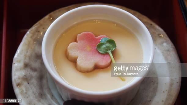 "savory egg custard ""chawan・mushi"" - chawanmushi stock pictures, royalty-free photos & images"
